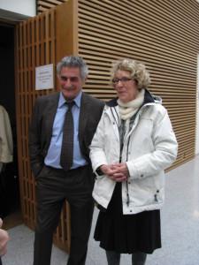 2011 hielt Jean-Christophe Victor des Institutes für Polarforschung einen Vortrag über das wissenschaftliche Erbe von Charcot. Hier mit Frau Vallin-Charcot, Charcots Enkelin