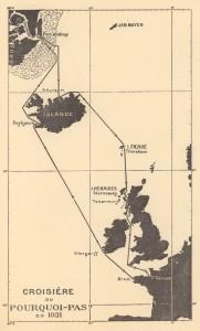 Yfirlitsmynd af leiðangri Charcots á Pourquoi-Pas? árið 1931